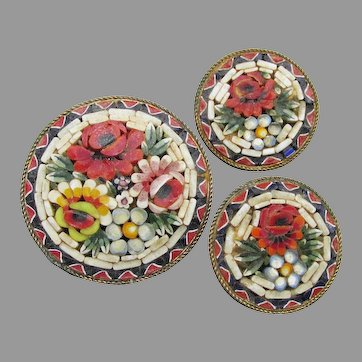 Vintage Italian Micro Mosaic FLOWER Pin & Earrings Set
