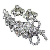 Signed WEISS Rhinestone Pin & Earrings Set, Large 1950's Vintage Demi Parure