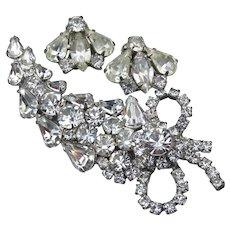 Spectacular Vintage WEISS Rhinestone Pin & Earrings Set, Demi Parure