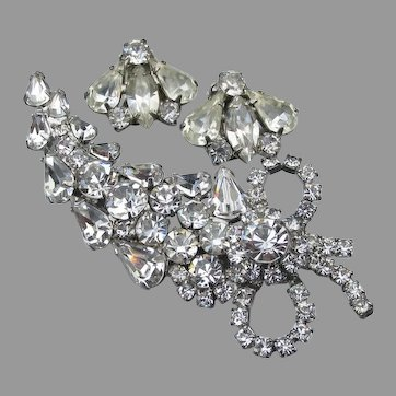Spectacular Vintage WEISS Rhinestone Pin & Earrings Set, Demi Parure