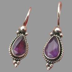 Vintage Sterling Silver Teardrop Amethyst Pierced Earrings