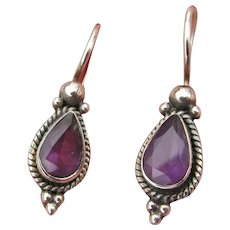 Vintage Sterling Silver Teardrop Amethyst Pierced Earrings