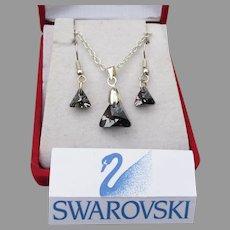 Gray Black Trilliant Swarovski Crystal Necklace Earrings Set, New In Box