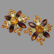 Signed JUDY LEE 1960's Golden Topaz Rhinestone Vintage FLOWER Clip Earrings