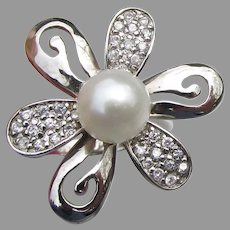 Pretty Sterling Silver & Cultured Pearl Cubic Zirconia Flower Ring, Size 7