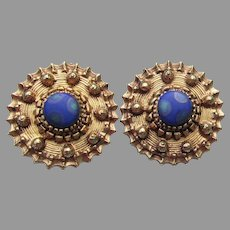 Signed FLORENZA 60's Mod Psychedelic Cabochon Button Earrings