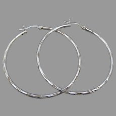 Large Thin Etched Vintage Sterling Silver Hoop Earrings