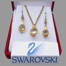Aurora Borealis Oval Golden Topaz Swarovski Crystal Necklace Earrings Set, New In Box