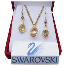 Aurora Borealis Oval Golden Topaz Swarovski Crystal Necklace Earrings Set, New In Box