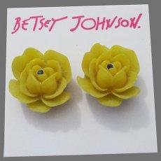Retired VIntage Betsey JOHNSON Yellow Rose Earrings, New On Card