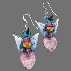 Blue & Purple HUMMINGBIRDS Hand-Made Lampwork Glass & Crystal Sterling Silver Dangle Artisan Earrings