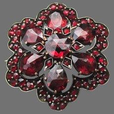 Antique Victorian Bohemian Garnet Sterling Silver Flower Pin