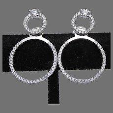 Sterling Silver Jackets & Stud CZ Double Hoop Earrings