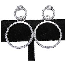 Sterling Silver Jackets & Stud CZ Double Hoop Earrings