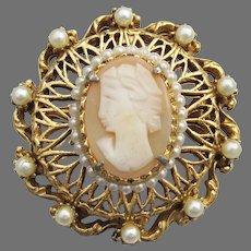 Gorgeous FLORENZA Victorian Revival Faux Pearl CAMEO Pin Pendant