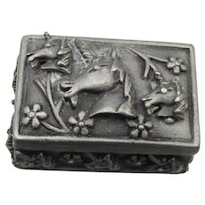Signed TORINO Vintage UNICORN Pewter Pin, Stud Earrings, Trinket Box Set