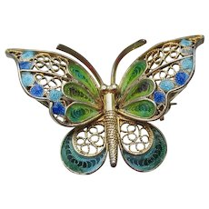 Gold Plated 800 Silver Vintage Plique a Jour Enamel BUTTERFLY Pin