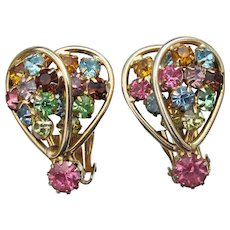 Signed JUDY LEE Vintage Multi Color Pastel Rhinestone Earrings