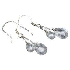 Double Teardrop Crystal Sterling Silver Dangle Earrings