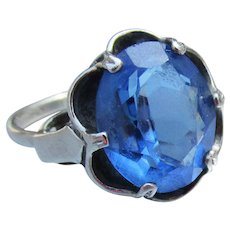 Vintage Sapphire Blue Glass Sterling Silver Ring, Adjustable Size 7 or 8 or 9