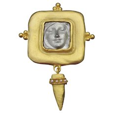 1990's Vintage Etruscan Revival FACE Dangle Pin