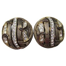 Signed KRAMER Modernist 1960's Vintage Rhinestone Button Earrings