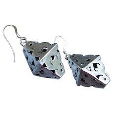 Sterling Silver Vintage Open Work 3-D Lantern Dangle Earrings