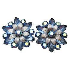 Big Beauties! Vintage Blue Rhinestone Flower Earrings