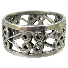 Vintage Sterling Silver Wide Open Work Band Ring, Size 6