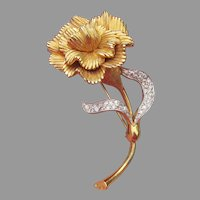 JOMAZ Signed Vintage Carnation Flower Rhinestone Pin
