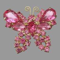 Juliana Pink Rhinestone Butterfly Pin