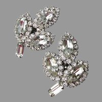 Unsigned WEISS 1960's Rhinestone Leaf Clip Earrings
