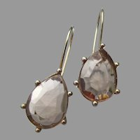 Sterling Silver Vermeil Smoky Quartz Teardrop Vintage Drop Pierced Earrings