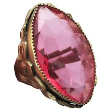 Stunning Art Nouveau Vintage Edwardian Large Pink Marquise Glass Ring