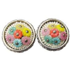 Signed Freirich Vintage Multi-Color Celluloid Flower Bouquet Earrings