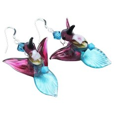 Turquoise Blue & Pink HUMMINGBIRDS Hand-Made Lampwork Glass & Crystal Sterling Silver Dangle Artisan Earrings