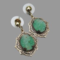 Peking Glass Faux Jade Vintage Dangle Pierced Earrings