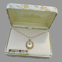 Vintage 1950's Victorian Revival Gold Filled Ruby Necklace, New In Box