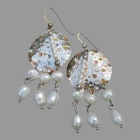 Cultured Pearl & Sterling Silver Vintage Dangle Medallion Earrings
