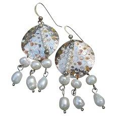 Cultured Pearl & Sterling Silver Vintage Dangle Medallion Earrings