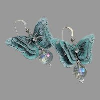 Sterling Silver, Crystal Bead & Verdigris BUTTERFLY Dangle Pierced Earrings