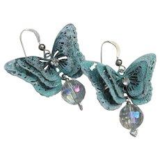 Sterling Silver, Crystal Bead & Verdigris BUTTERFLY Dangle Pierced Earrings