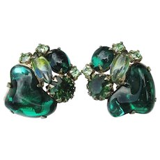 1960's Designer Amoeba & Givre Emerald Green Rhinestone Earrings