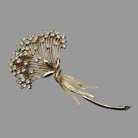 Crown TRIFARI Vintage Large Rhinestone FLOWER Spray Pin