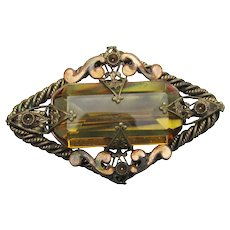 Antique Early Czechoslovakia Topaz Glass Edwardian Brooch