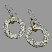 LOng Dangle Sterling Silver Hoop Artisan Earrings