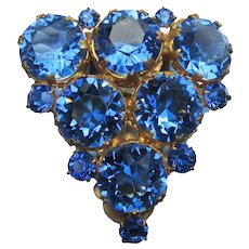 Vintage 1920's Art Deco Brilliant Blue Rhinestone Dress Clip Pin