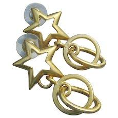 1990's Vintage Gold Tone STAR & Hoop Dangle Pierced Earrings