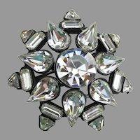 Crystal Rhinestone Black Enamel Japanned Vintage STAR Pin