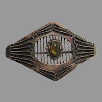 Antique Victorian Golden Topaz Rhinestone Pin